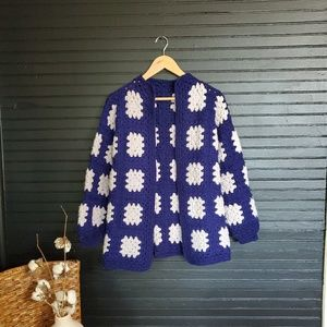 Vintage crocheted granny sweater cardigan